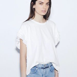 Current Elliott recrafted ruffle tee shirt top 1 S